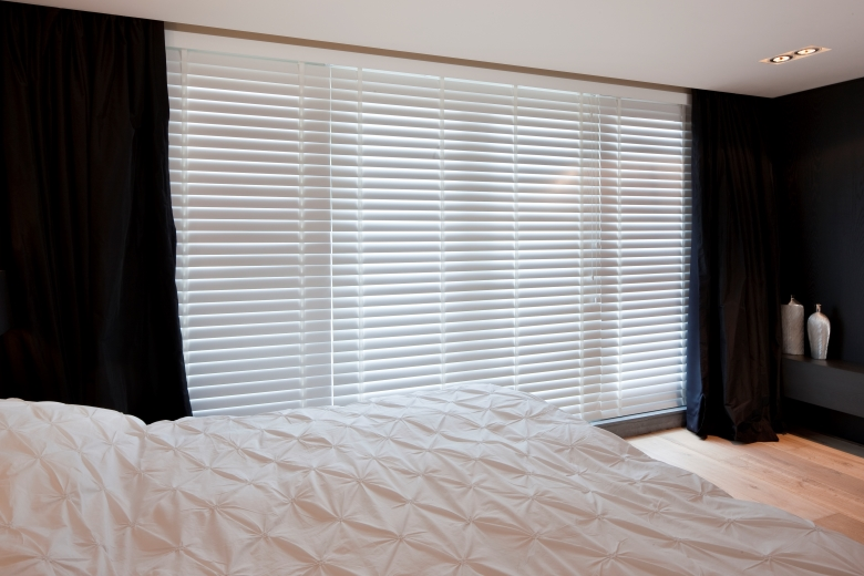 White blinds for high windows bedroom