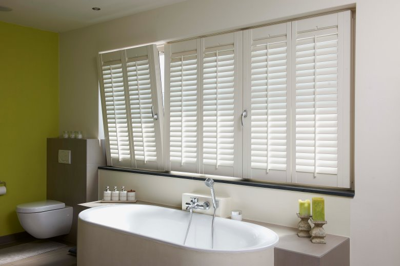 Shutters on the tilt and turn window bathroom