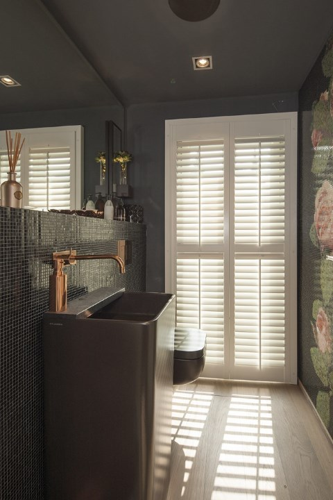 white shutters with center tiltrod in bathroom with washing sink toilet